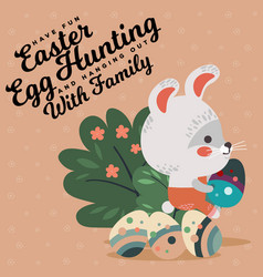Easter baby bunny in overalls holding big vector