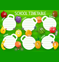 Education school timetable with cartoon fruits vector