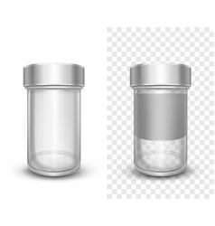 Empty glass jars with metal silver lids for spices vector