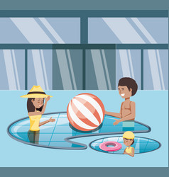 Family vacations in pool icon vector