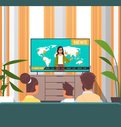 Family watching tv daily news program parents vector