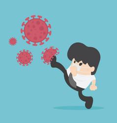 Fight virus cure corona virus young businessman vector