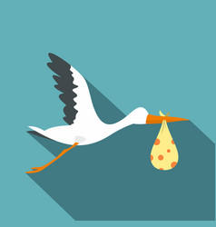 flying stork with a bundle icon flat style vector image