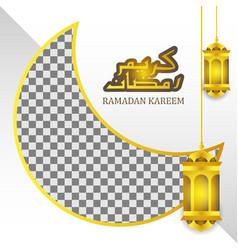 Gold fanous lantern for ramadan kareem background vector