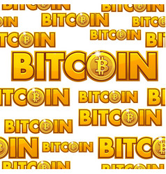 gold logo bitcoin seamless pattern vector image