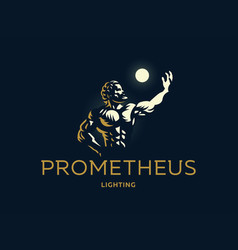 Greek hero prometheus light in the hand vector