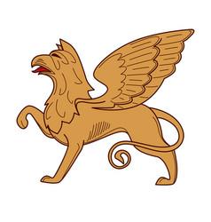 Gryphon royal heraldry mythical creature power vector