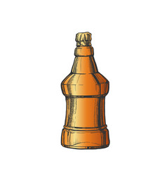 hand drawn color embossed bottle of beer vector image