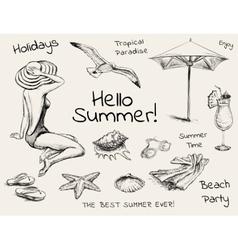 Hand Drawn Sketch Summer Set vector