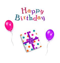 Happy birthday text present box and balloons vector