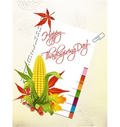 Happy thanksgiving day with corn and sticker vector