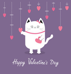 happy valentines day white cat hanging pink vector image