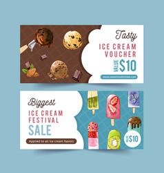 Ice cream voucher design with mix fruits vector
