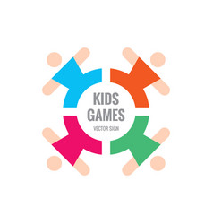 Kids games - logo template concept vector