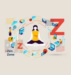 letter z with zen zone for stressed girl vector image