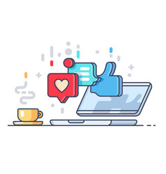 Likes and comments on social network vector
