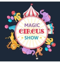 Magic circus round composition vector