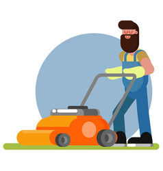 Man works with a lawn mower vector
