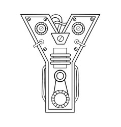Mechanical letter y engraving vector