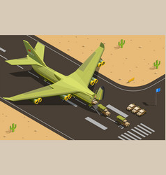 military transport aircraft composition vector image