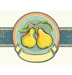 Pears vintage label on old paper background vector image