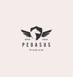 Pegasus horse shield logo hipster vintage retro vector