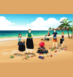 people cleaning up trash vector image
