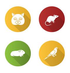 pets flat design long shadow glyph icons set vector image