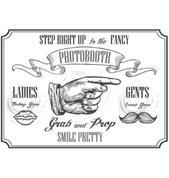 Photobooth pointer sign photo booth props vector image