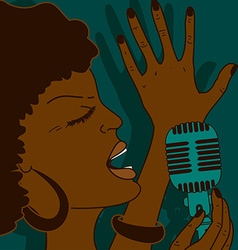 Portrait of singing woman vector image