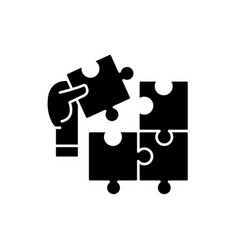 puzzle pieces black icon sign on isolated vector image