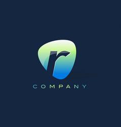 r letter logo oval shape modern design vector image