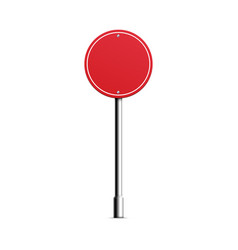 Realistic blank road sign with red circle shape vector