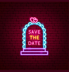 save date neon label vector image