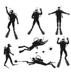 Scuba diver silhouettes diving silhouettes vector