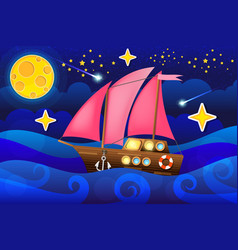 sea ship in moon night vector image