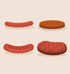 Set grill meats icon vector
