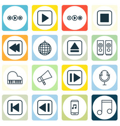 Set of 16 audio icons includes music control vector