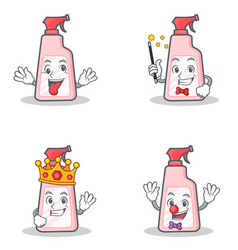 set of cleaner character with crazy magician king vector image