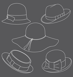 set of hats on white background vector image