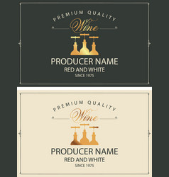 Set two wine labels with golden bottles vector