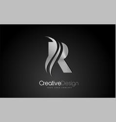 silver metal r letter design brush paint stroke vector image