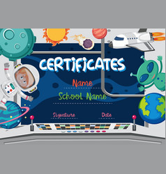 Space theme certificate concept vector