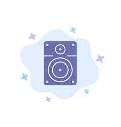 Speaker loud music education blue icon on vector