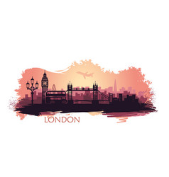 stylized landscape of london with big ben tower vector image