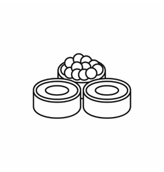 Sushi roll japanese food icon outline style vector image