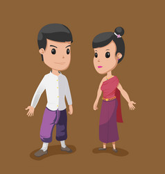 Thai cartoon couple people culture vector