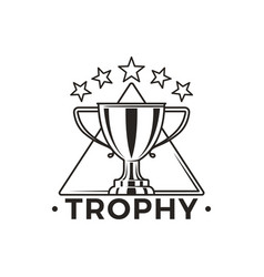 Trophy cup with stars above monochrome emblem vector