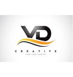 Vd v d swoosh letter logo design with modern vector