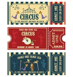 Vintage circus banner collection ticket vector